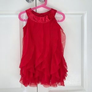 Girls Red Holiday Tulle Flowy Dress (4T)